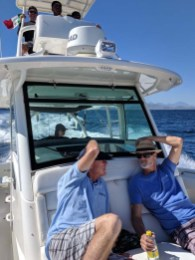 Kurt and Rand holding onto their hats as we were going really fast on this 30+ foot Boston Whaler