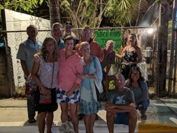 The birthday crew at the backyard rib place in La Cruz