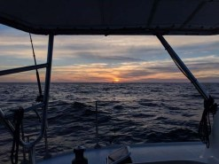 On approach to Bahía Chamela - you can barely make out Tigress II in the sunset