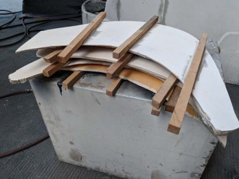Transom steps removed to get reinforced with fiberglass