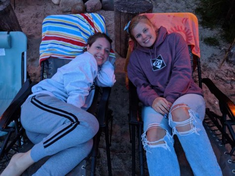 Eliza and Sierra staying warm