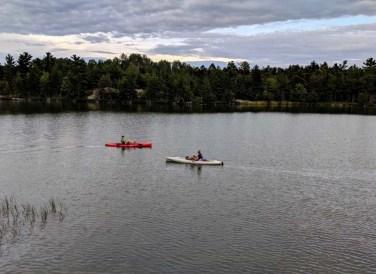 Kayakers shagging golf balls