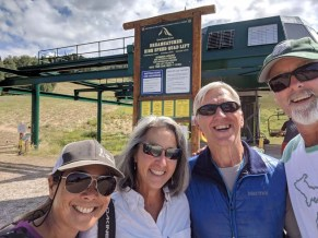 Getting on the chair lift at Grand Targhee Ski Resort and Bike Park