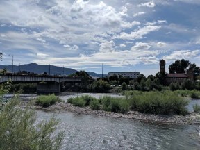 Kayak park on the Clark Fork River through downtown Missoula