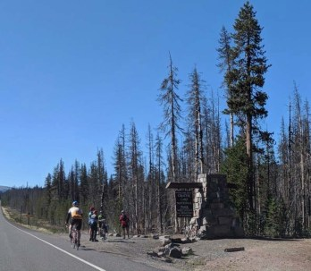 Heading into Crater Lake National Park - along with a gazillion cyclists