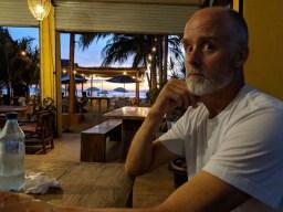 Rand enjoying una cerveza en Chac Mool