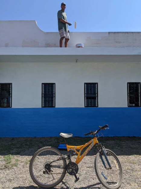 Joe painting the Barra library