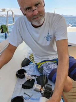 Working on the Torqeedo in Santiago Bay