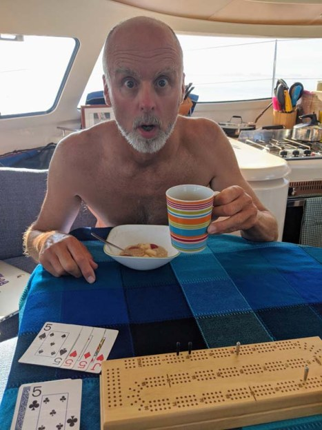 Coffee and an ass-kicking in cribbage (Rand kicking Jo's ass, that is)