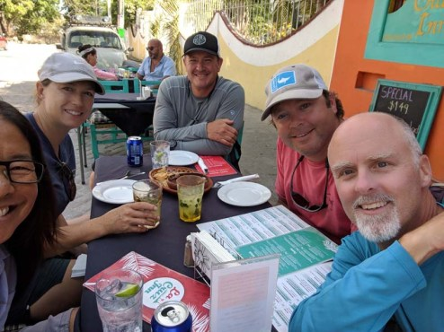 Enjoying the company of S/V Luego and Thadeus at the La Cruz Inn, March 2019