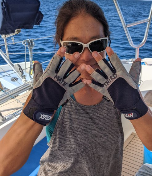 Gloved up for the sail