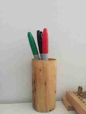 A Wood Carved Pen Holder