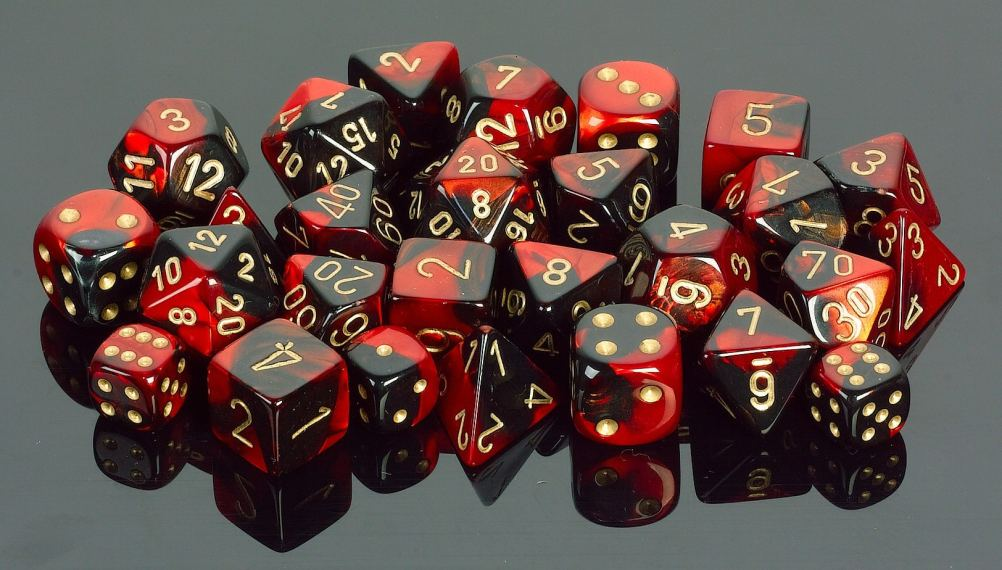 image of black and red dice