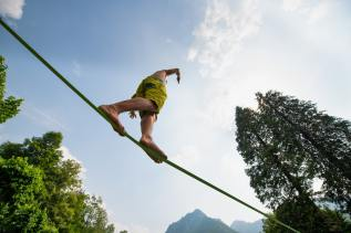 Boy practices walking on the rope