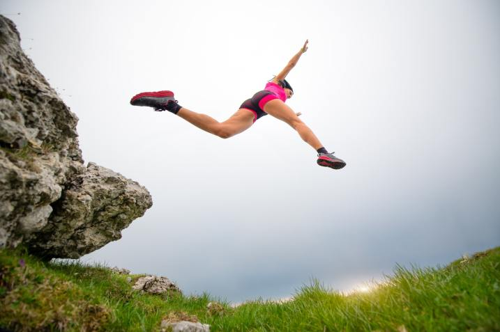 Jump of a sporty woman