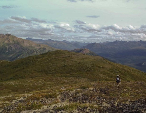 Backpacking above treeline through the Tombstone Territorial Park in the Yukon Territory during the North American Odyssey.