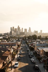 View of Downtown Los Angeles from a neighborhood.
