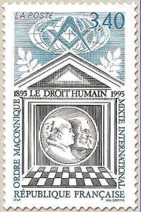 French stamp issued in 1993 to commemorate the 100 year anniversary of Le droit humain
