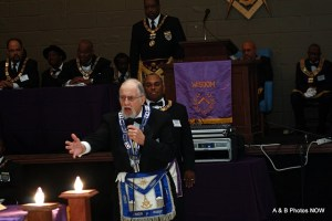 Fred giving the On Yonder Book Charge at Grand Lodge Grand Raising