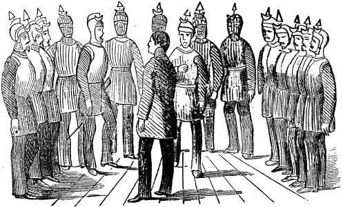 Depiction of an initiation ceremony of the Knights of the Golden Circle.