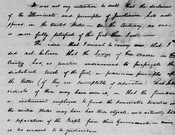 Washington's letter about the illuminati