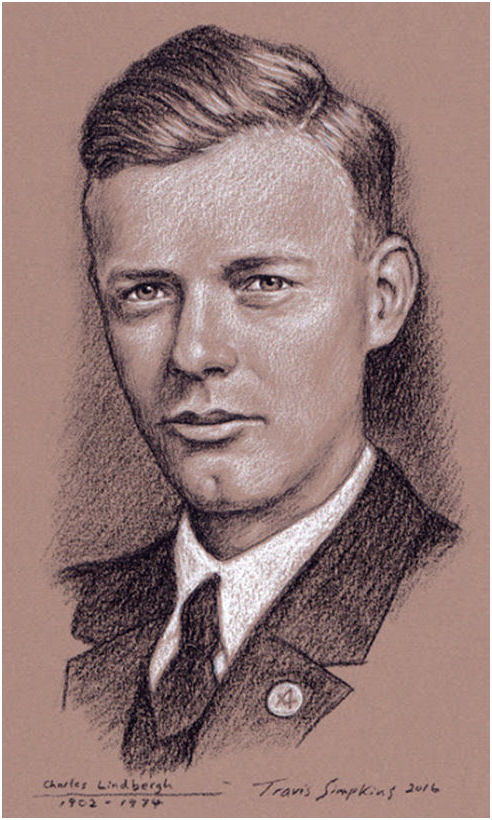 Charles Lindbergh. Aviator, Author and Explorer. 1st Solo Flight Across Atlantic, by Travis Simpkins