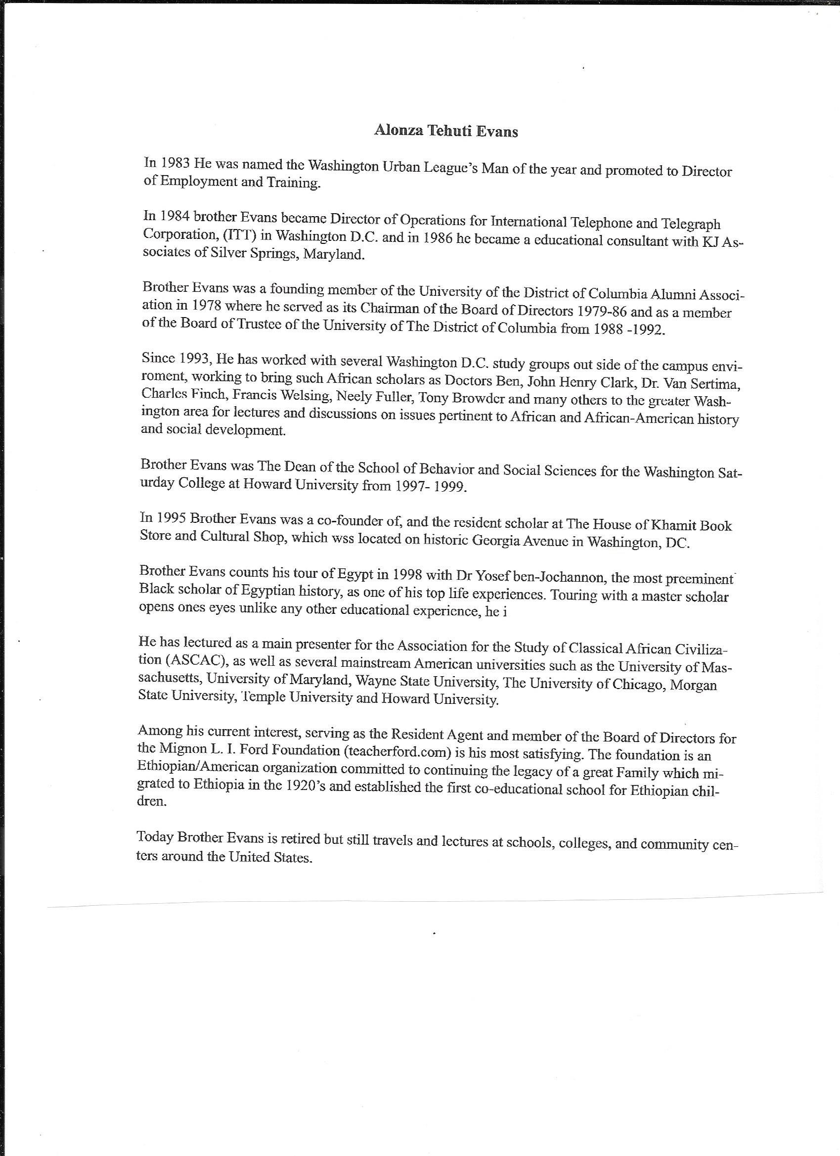 Tehuti Evans Bio   Freemason Information