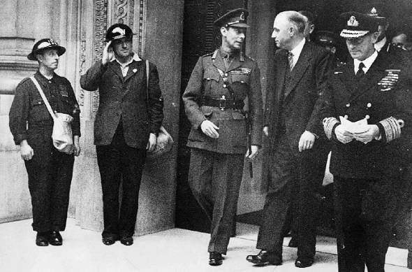 The King visiting Freemasons Hall after a wartime visit with Admiral Evans of the Broke