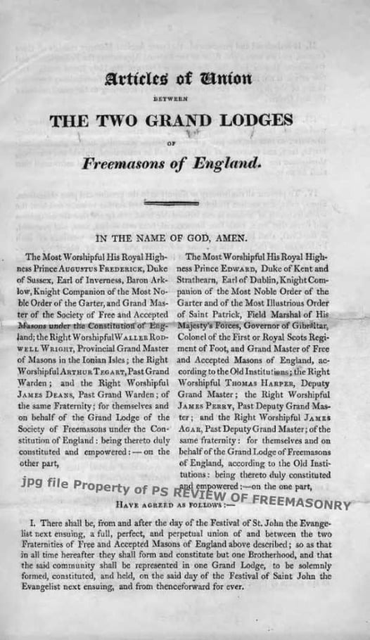 Articles of Union between the Grand Lodges of England