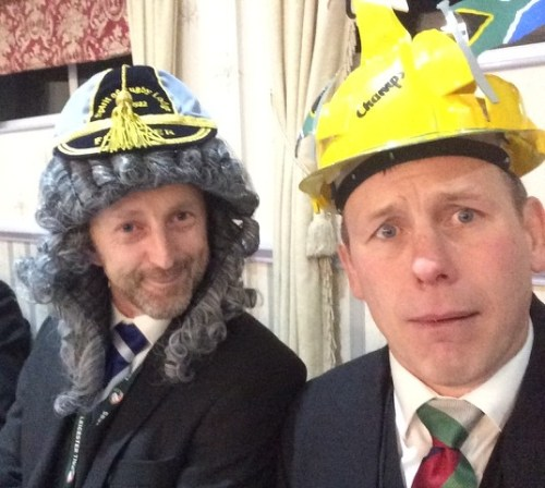 Andy Stevens (judge) & Matt Mitchell (wearing his hat of shame)