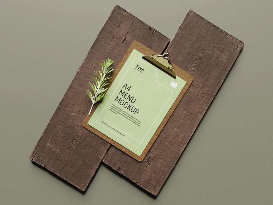 Download A4 Menu on Wood Board Free Mockup - FreeMockup