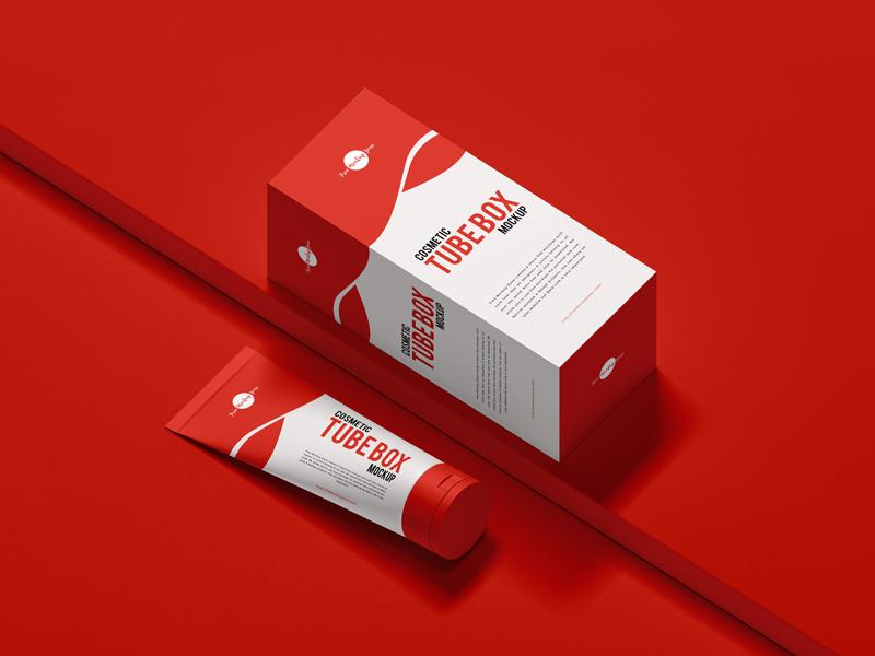 Download Free Cosmetic Tube Box Mockup - Free Mockup ZoneFree ...