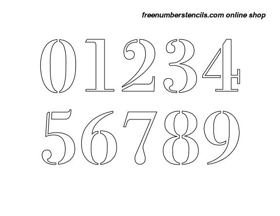 4 Inch 1700 S Exquisite Elegant Number Stencils 0 To 9 Freenumberstencils Com