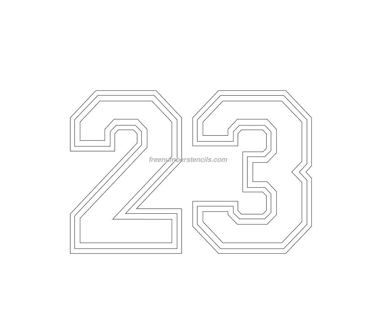 Free Varsity 23 Number Stencil