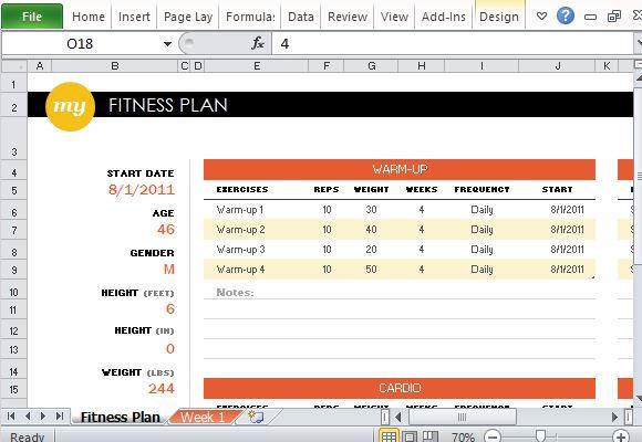 Free Fitness Plan Maker For Excel