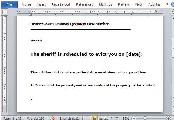 Template Eviction Notice free florida eviction notice template 3 – Eviction Letter to Tenant