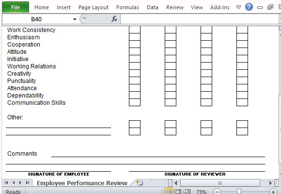 Employee Review Template Excel self performance multiple – Company Performance Review Template