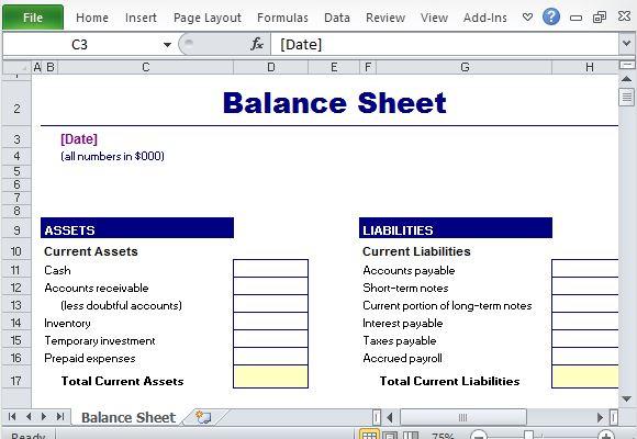 Standard Balance Sheet Template trial balance sheet template – Balance Sheet Preparation Examples