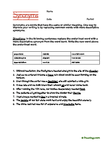 Synonyms Worksheet To Improve Your Writing