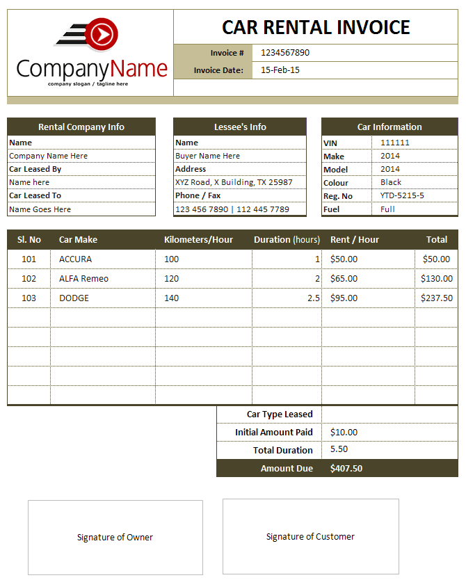 Car Sales Template car sales invoice template car for sale flyer – Sales Invoice Example
