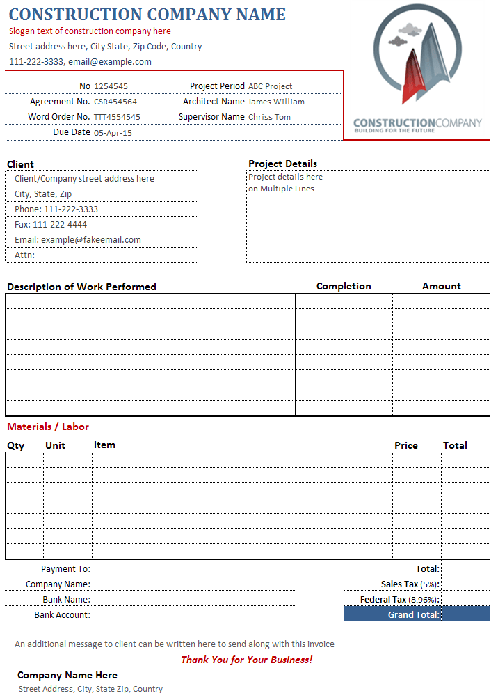 construction invoice template free. invoice template excel free, Invoice templates