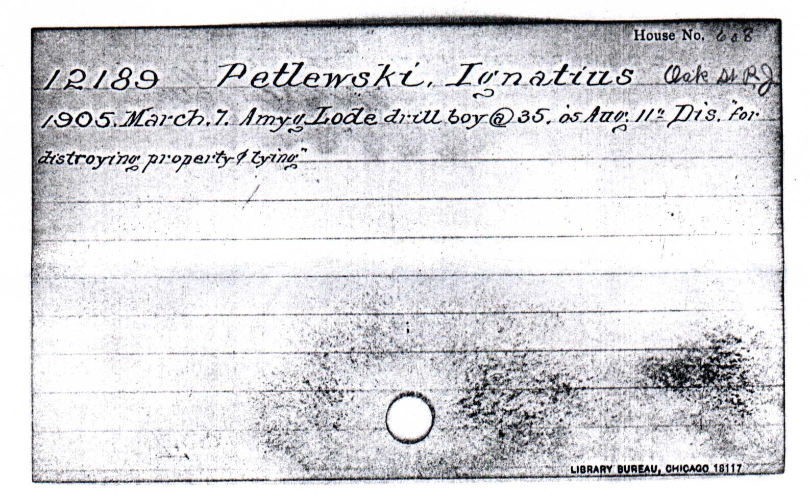 Ignatius Pytlewski's C & H Record