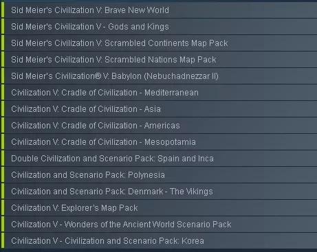 Sid Meier's Civilization V: Complete Edition game list