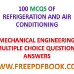 Refrigeration and Air Conditioning – Mechanical Engineering Multiple choice Questions Answers