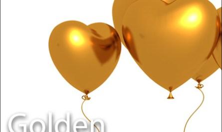 Golden Heart Balloons