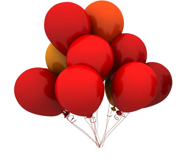 Red Balloons PSD and Picture