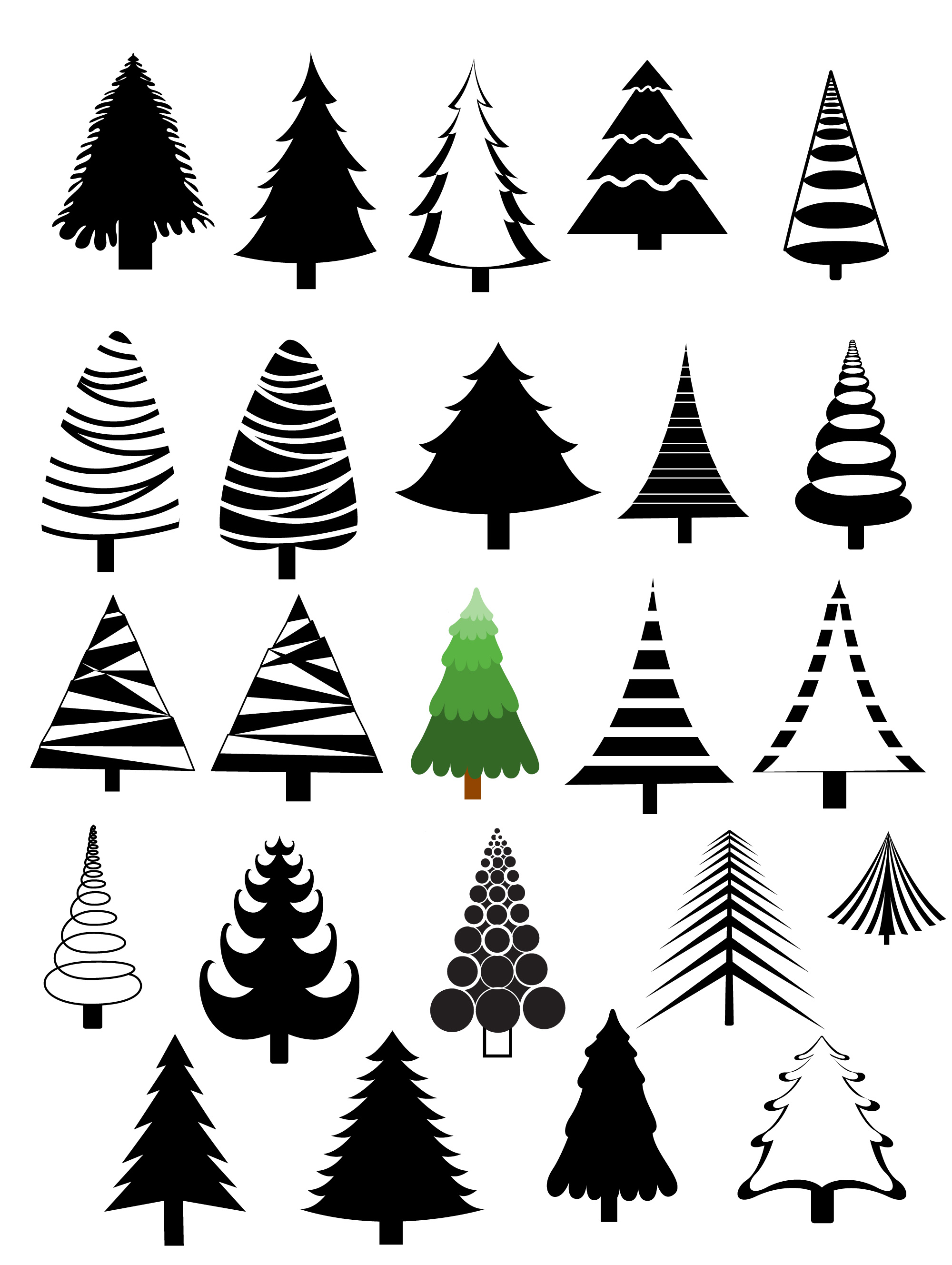 Christmas Trees Vectors Brushes Shapes Amp Picture