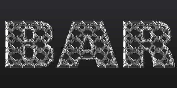 steel bar text effect