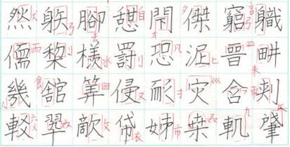 ペン字 漢字 書写体