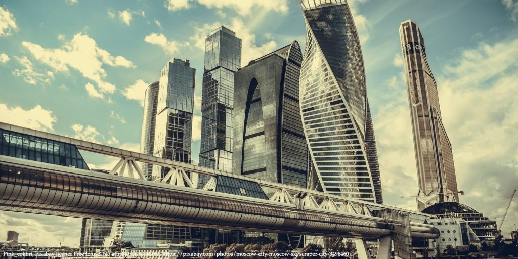 Tall buildings in Moscow city representing central banks and financial markets